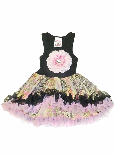 Black Hi-Low Pink Flower Tutu Dress
