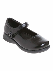 Black Josmo Flower Velcro Mary Jane School Shoes