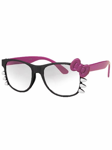 Black Junior Clear Polycarbonate Lens Sunglasses w/Purple Bow