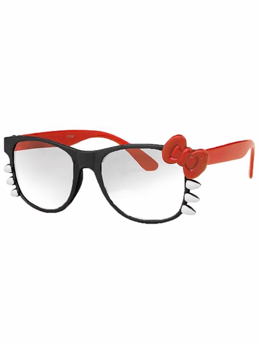 Black Junior Clear Polycarbonate Lens Sunglasses w/Red Bow