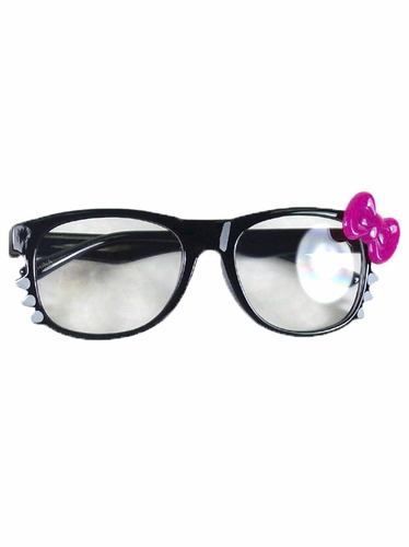 Black Kids Clear Polycarbonate Lens Sunglasses w/ Magenta Bow