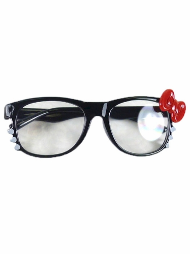Black Kids Clear Polycarbonate Lens Sunglasses w/ Red Bow