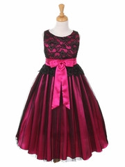 CLEARANCE - Black & Fuchsia Lace Bodice w/ Double Tulle Over Charmeuse