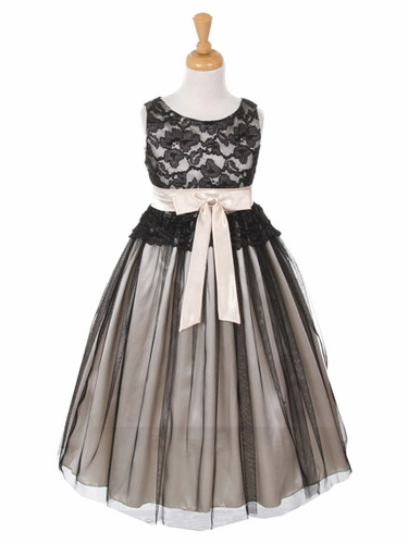 Black & Ivory Lace Bodice w/ Double Tulle Over Charmeuse