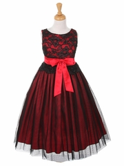 CLEARANCE - Black & Red Lace Bodice w/ Double Tulle Over Charmeuse