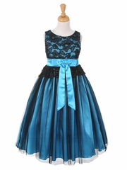 CLEARANCE - Black & Turquoise Lace Bodice w/ Double Tulle Over Charmeuse