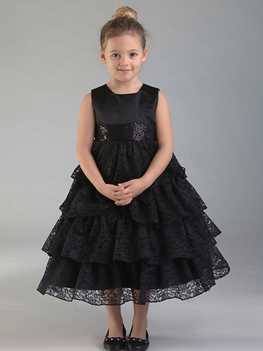 Black Lace Layered Dress w/ Sequined Waist