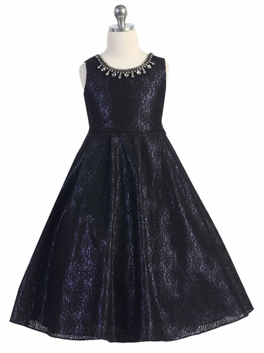 Black Lace Overlay Blue Dress