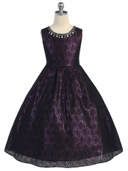 Black Lace Overlay Fuchsia Dress
