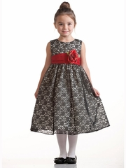 Black Lace Pattern Dress w/Polysilk Sash & Flower