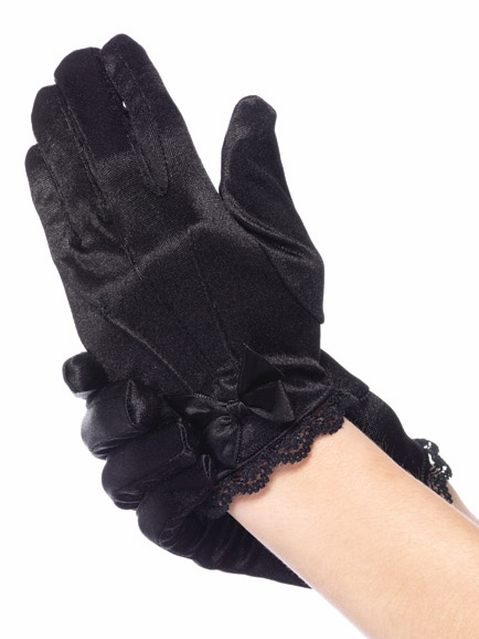 Black Lace Trimmed Satin Gloves W Bow Accent