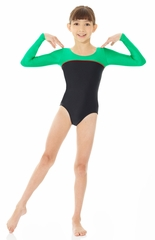 Mondor Black Shiny Long Sleeve Leotard