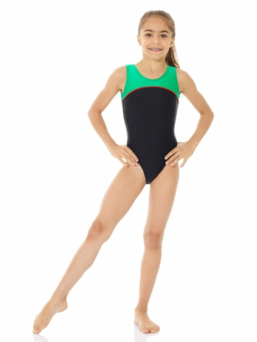 Mondor Black Shiny Tank Leotard w/ Combination of Neon Colors