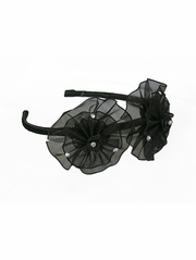 Black Organza Flower Bow & Rhinestone Headband