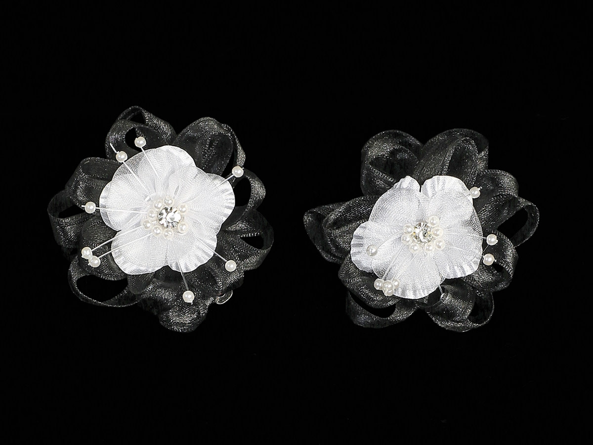 Black Organza Flower Hair Clip W Stone