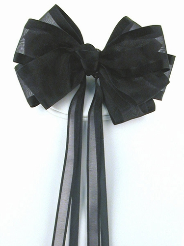 Black Organza Hair Clip w/ Ribbon