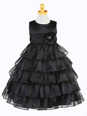Black Organza Layered Dress