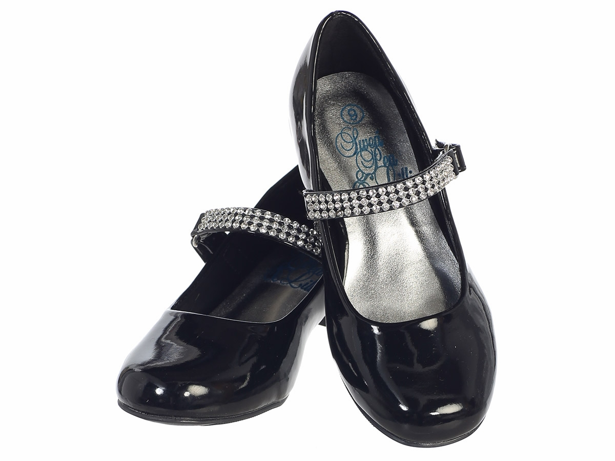 ceb84138c44 ... Black Patent Girls Low Heel Dress Shoe with Rhinestone Strap. Click to  Enlarge ...