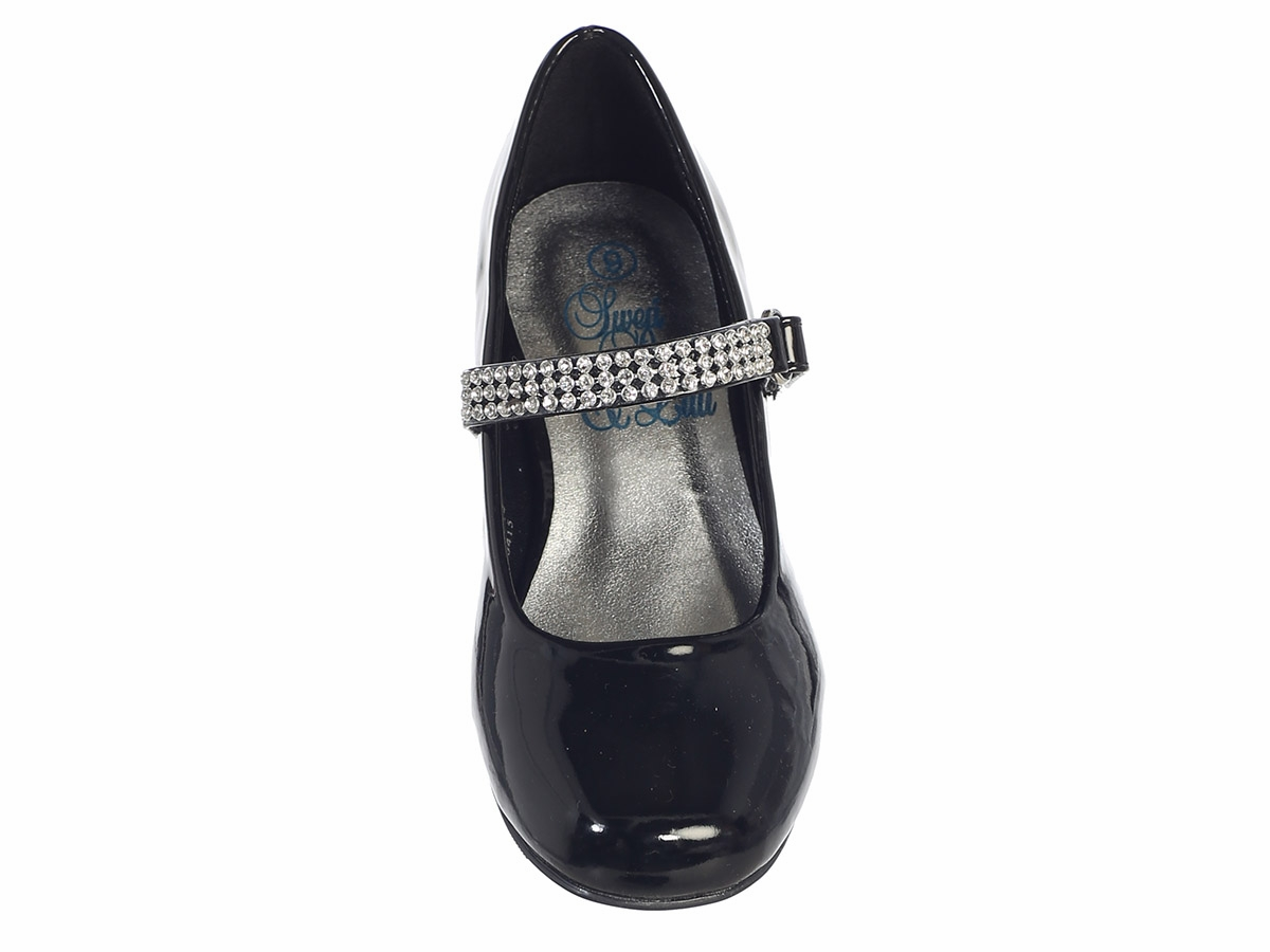 0eeb63ca8300 ... Black Patent Girls Low Heel Dress Shoe with Rhinestone Strap. Click to Enlarge  Click to Enlarge ...