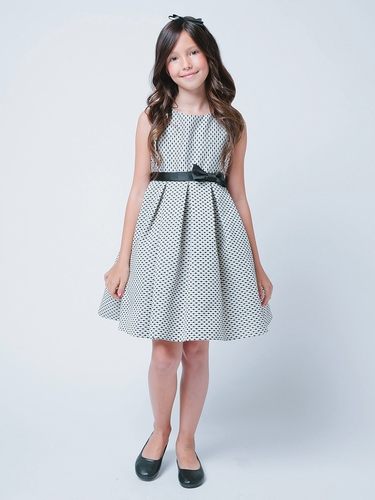 Black Petite Polka Dot Jacquard Dress