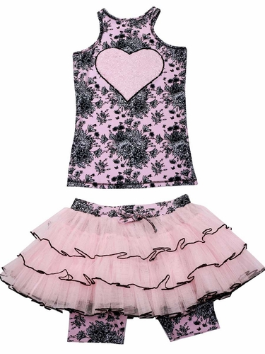 Ooh! La La! Couture Black / Pink Toile Skort Set