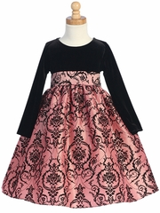 Black/Pink Stretch Velvet Bodice w/Flocked Taffeta Skirt