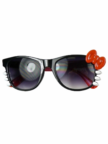 Black/Red Junior Smoke Gradient Polycarbonate Lens Sunglasses w/ Bow