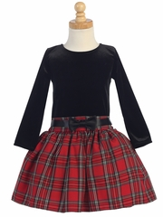 Swea Pea & Lilli Black & Red Long Sleeve Velvet & Plaid Dress