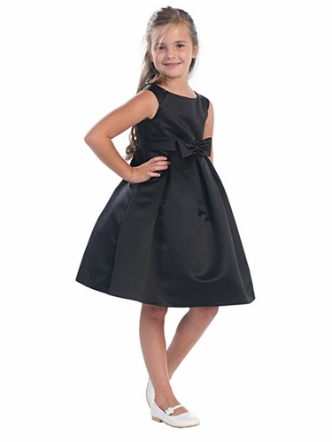 Black Satin A-Line Dress w/ Portrait Neck & Pleated Skirt