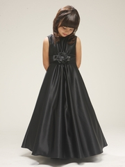 Black Satin A-line Sleeveless Dress