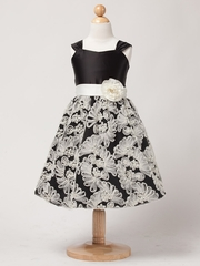 Black Satin Bodice Dress w/ Fanned Mesh Embroidery