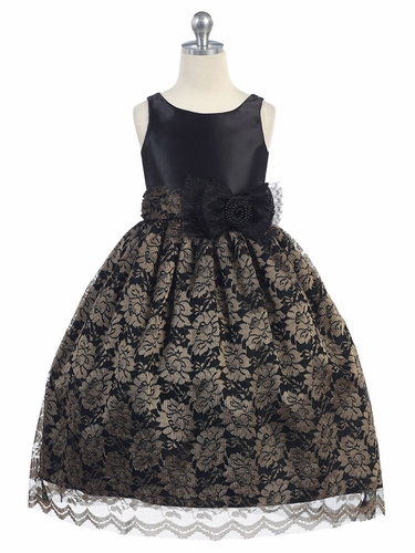 Black Satin Bodice w/ Champagne Lace Overlay Skirt