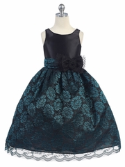 CLEARANCE - Black Satin Bodice w/ Teal Lace Overlay Skirt