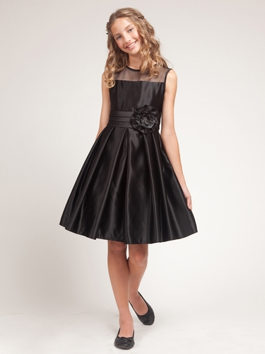 Black Satin Dress w/Organza Trim Bodice