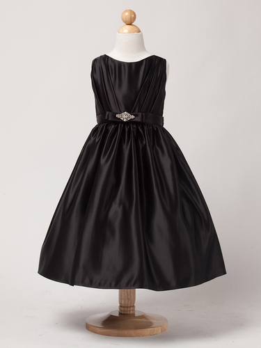 Black Satin Dress w/ Rhinestone Pin