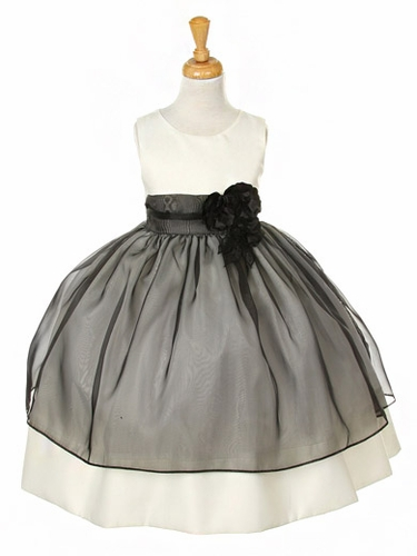 Black Satin Dress w/ Tulle Overlay & Flowered Sash