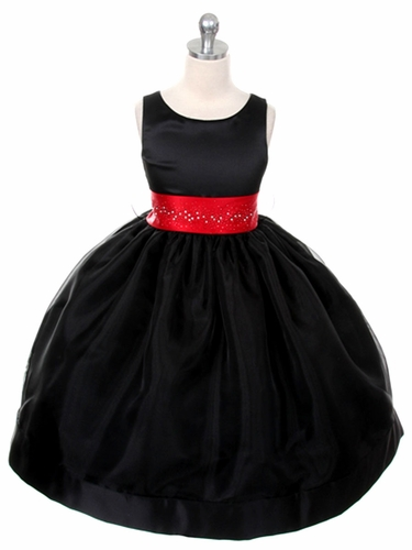 Black Satin Organza Dress w/ Rhinestone Sash