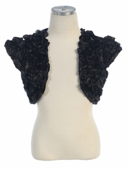 CLEARANCE - Black Satin Ribbon Embroidered Bolero
