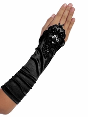 Black Long Satin Ruched Girls' Glovettes w/ Lace