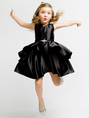 Black Satin Sleeveless V-Neck Dress w/ Ruffles