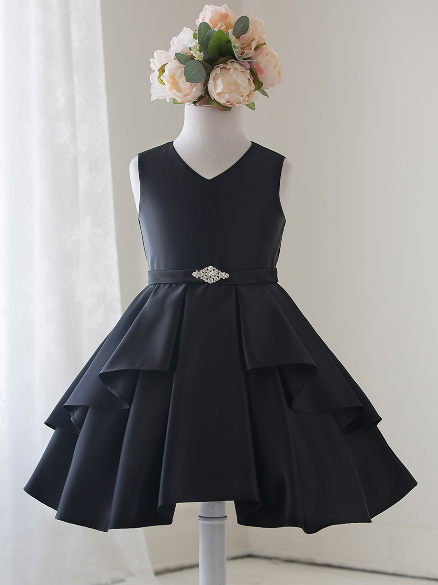 Black Satin Sleeveless V Neck Dress W Ruffles