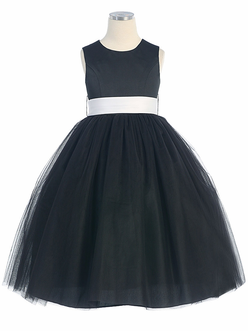 Black Satin Tulle Dress W Removable Sash