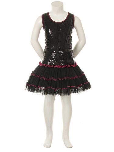 Black Sequins Poly Mesh Tutu Mini Dress
