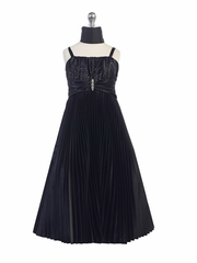 Black Shiny Satin Pleated Long Dress