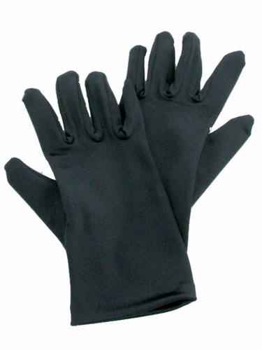 Black Short Satin Gloves