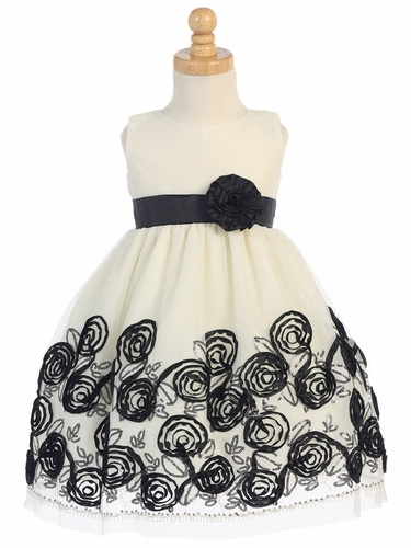 Swea Pea & Lilli Black Sleeveless Tulle Dress W/ Floral Satin Ribbon