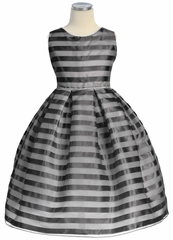 Black Stripe Organza Box Pleat Dress