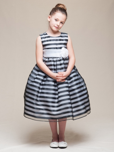 Black Stripe Organza Dress w/ Sash & Flower