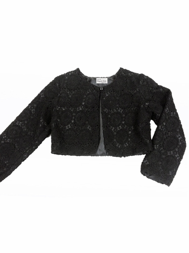 Black Swirl Lace Pearl Button Bolero Jacket