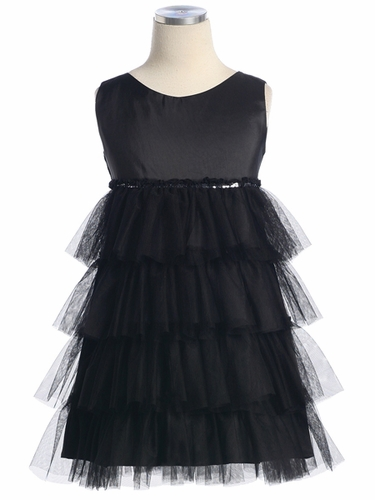 Black Taffeta Top w/ Tiered Mesh Skirt